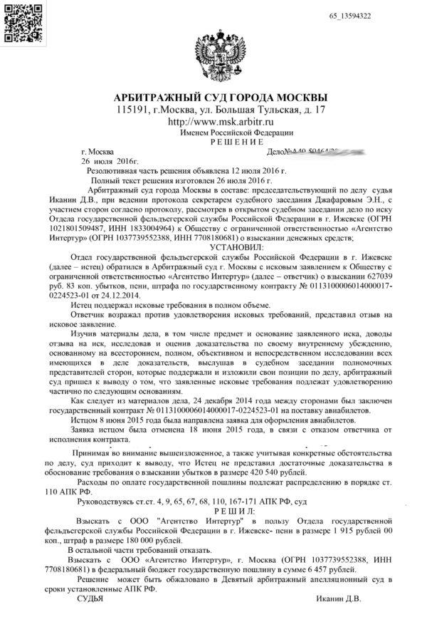 Reshenie Moskovskogo Suda Ubitki