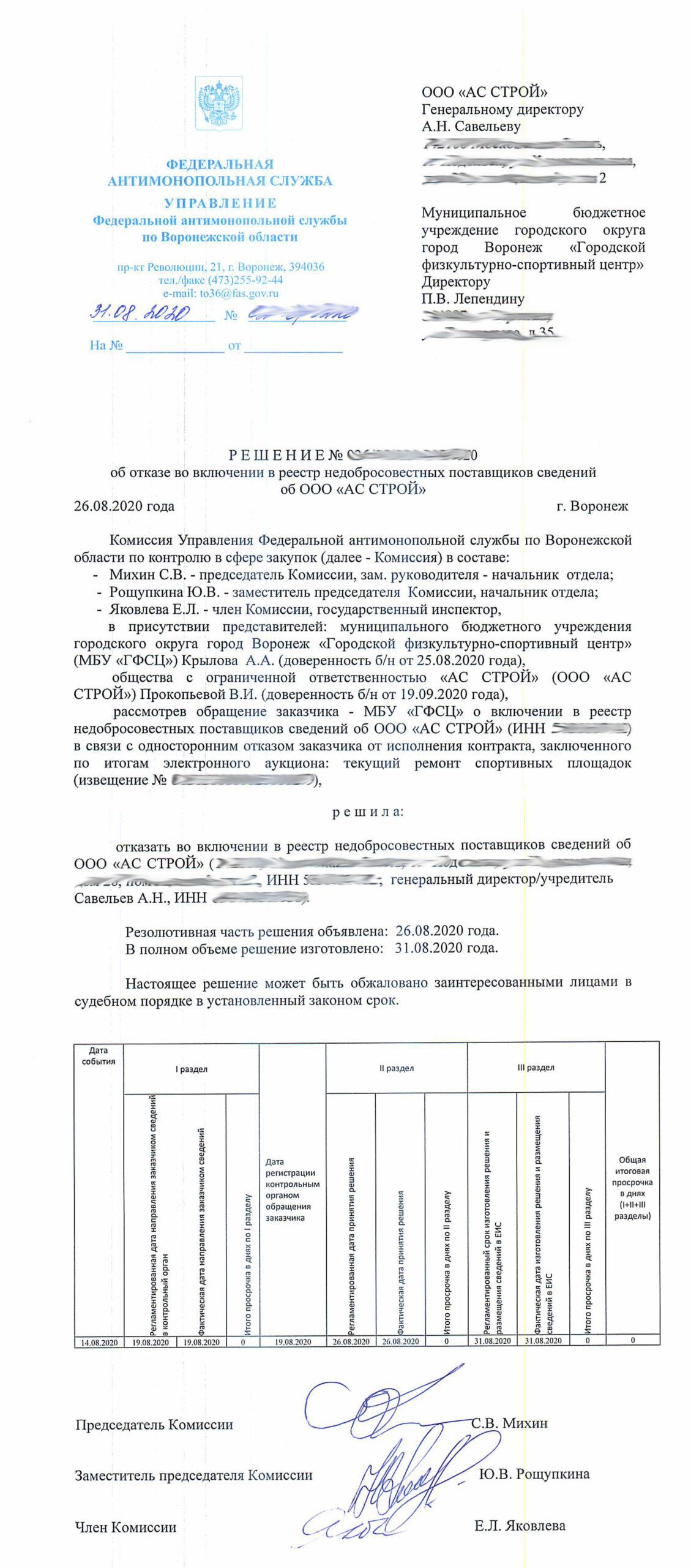 Воронежское УФАС ООО АС СТРОЙ